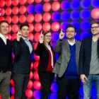The 5 Founders of Holo-Light in Innsbruck pointing their fingers up